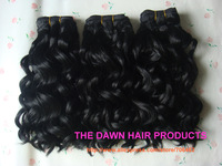 "3Piece/Lot 1# 10""-18"" Mixed (50% Human Hair&50% Heat Resistant Fiber) Loose Deep Wave Curl Weave Weft Weaving Hair Extension"