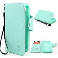 Wallet Button Leather Flip Strap Case Cover Skin For Sony Xperia J ST26i ST26a Light Green + Screen Protector