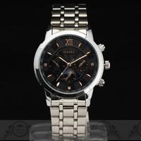 2014 Luxury Steel Case mens Quartz watch Moon Phase Multi-Sub Deco Dial Steel Band Japan Quartz Movement wristwatch Free Ship