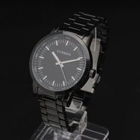 2014 Classic men watches Stainless thin CASE concise Analog Dial men Quartz Wristwatch Black stainless steel Band Freeshipping