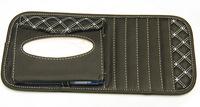 Free Shipping Leather Car Automotive Visor Tissue Box Paper Tray + 6 Pcs CD Clip Holder Folder