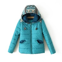 2013 winter fashion with a hood cute pocket candy color multicolour slim wadded jacket female