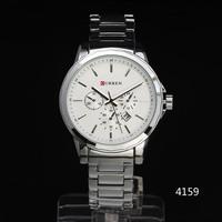 2014 Luxury Curren Men Quartz Watch Stainless Steel Case Multi Calendar Sub-Dial Deco Men Steel Band Quartz Wristwatch freeship