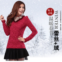 2013 slim rabbit fur lace shirt women's turtleneck plus velvet thickening basic shirt t-shirt