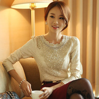 2013 autumn and winter women knitted bronzier handmade beads basic shirt long-sleeve t-shirt top