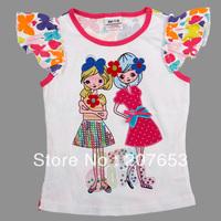 NEW Free shipping 5pcs/lot  children clothes girls short sleeve  t-shirt  girls cartoon t-shirt girls floral tops/ tees 1-6years