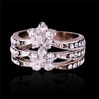 For Women classic fashion high quality genuine Austrian crystals double flowers rings with silver plated (SHIYA Party jewelry)