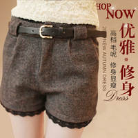2013 lace decoration plus size thick shorts casual woolen slim all-match legging