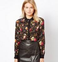 New Fashion Ladies' Vintage Floral print blouses elegant faux leather collar Shirt casual slim brand designer tops