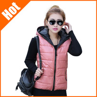 New Arrival spring autumn Winter sleeveless women's Hooded vest coat lady fashion cotton-padded casual waistcoat