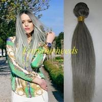 Wholesale Free Shipping Fashion #Gray Highlight 100% Human Hair straight 4pcs 12-28inch 5A Brazilian Virgin Hair Extensions