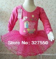 Fashion Kids cartoon Baby Girls Autumn Peppa Pig Long Sleeve Leotard Ballet TUTU Dress Dot Lace Tutu Dance Costume Dress HY-6339