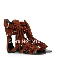 Brand Designer Women GZ Brown Flats Sandals,Plus Size 44 Zipper Summer Shoes with Tassel,Top Gladiator Shoes for Women