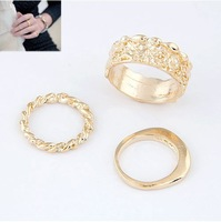 (Min order $10 mix)Fashion [think] rose embossed with strong personality triad combination ring(3)+ Free shipping