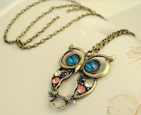 Minimum order is USD10! New Arrival  Fashion lovely vintage Colorful Cute OWL necklace Night Owl Shape with Big Eyes Free Ship