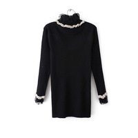 Double 12 's charming sexy slim basic turtleneck shirt lace collar basic t-shirt