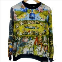 EASTERN Knitting Fashion New women hoodies 2013 Winter harajuku style sweatshirts 3D galaxy animal ZOO pullovers PLUS SIZE