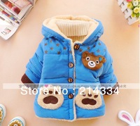 free shipping winter  2013 with baby bear head thickening cotton-padded clothes wholesale children's wear boy coffee footprint