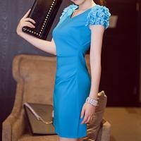 2013 ol elegant slim one-piece dress summer V-neck slim hip chiffon skirt blue women's