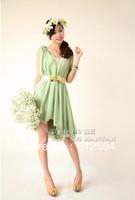 Hot!free shipping 7 colors2013 new women fashion chiffon dress female vintage dress lady ruffle one-piece dress sleeveless