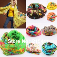 Hot Women's Flower Floral Voile Long Scarves Multiple Uses Sexy Beach Bikini Cover-Ups Swimwear Scarf