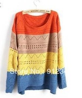 Free Shipping Stripe Sleeve Head Loose Big Size Hollow Out Crochet Sweaters Women Beige Yellow