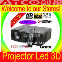 2500lumens Home projector hd 1080p projector led projector 3d projector AV/VGA/HDMI/USB/YPBPR/S-VIDEO/DVB-T(Digital TV tuner)