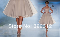 Elie Saab Ivory White Lace U-neckline Pretty Knee-length Short Party Cocktail Dresses