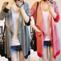 New 2013 Fashion Spring Autumn Winter Striped Sweater,Women's  Plus Size Cardigan Coat,Long Sleeve Knitwear Free Shipping