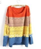 Free Shipping Stripe Sleeve Head Loose Big Size Hollow Out Crochet Sweaters Women Beige Yellow