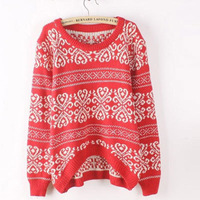 Free Shipping Autumn Long Sleeve Plus Size Sweater for Women Vintage Totem Loose Casual Pullovers Woman Knitwear Top Sale