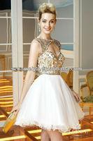 OUMEIYA OEP738 Puffy Skirt Keyhole Back Gold Beaded Short Prom Dress 2014