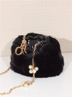 X-beauty wool gold chain shoulder bag mini bag ultra soft small pack bag bucket bag