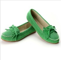 Sweet bow tassel leather casual shoes