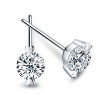 free shipping 925 pure silver stud earring female crystal earring anti-allergic earrings girlfriend gifts
