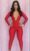 European Black Red New Fashion 2013 Women Sexy Deep V Neck Jumpsuits Elastic Bodycon Formal Party Evening Club Jumpsuits