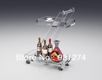 (Free Shipping) Acrylic  Lucite  Household  Cart, Perspex  Bar  Trolley, Handcarts
