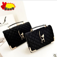 Fashion plaid 2013 women's handbag plush bags fur bag handbag messenger bag small bag black