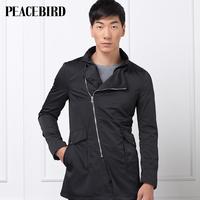 Peacebird men's clothing autumn male medium-long elegant trench personalized 80712116005 trend