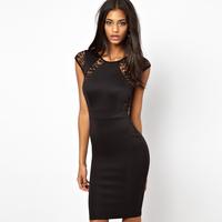 Ink landsides fashion women's sexy lace patchwork hip slim sleeveless slim medium  one-piece dress