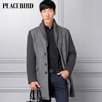 Peacebird men's clothing male medium-long fashion knitted overcoat hd21244131
