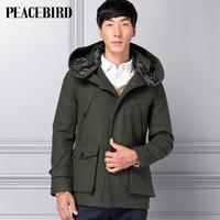 Peacebird men's clothing male medium-long woolen overcoat with a hood hd21244129