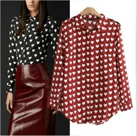 Free Shipping 2014 Spring European and American long-sleeved shirt lapel badges love S, M, L