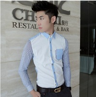 Sleeve Striped Polo Shirts 2013 New Arrival Fashion Slim Brand Winter Men Casual  Dress shirts Free Shipping S2665
