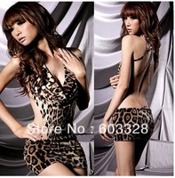 Super Sexy Women's V-neck Halter Backless Leopard One Piece Dress Lingerie Dress