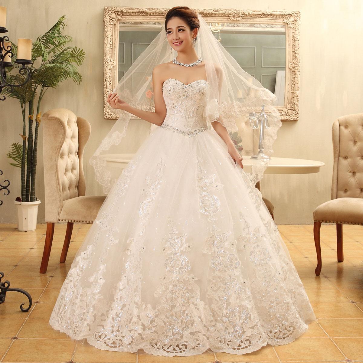 2015 bride white vintage tube top princess wedding dress a line wedding dresses robe de mariage princesse(China (Mainland))