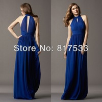 Wide Sash Chiffon Halter Gown Floor Length Skirt Keyhole Back Long Bridesmaid Dresses