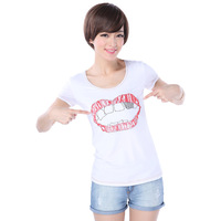 Shop 2013 red lips embroidery white short-sleeve T-shirt g340212