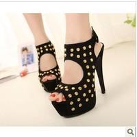 ladies ankle strap rivets platform high heel sandals fish mouth summer shoes women pumps size 34-40 wholesale FD980-A8NF