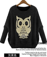 girl's blouse women's round neck bat sleeve owl pattern sweater pattern sweater 5015